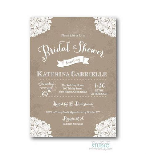 free printable bridal shower invitations rustic vintage lace rustic bridal shower invitation shabby chic