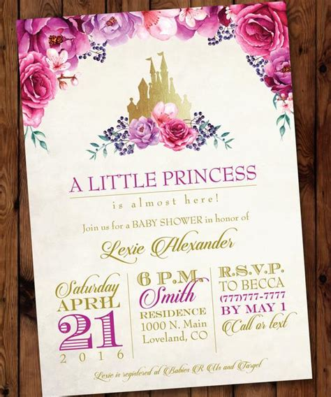 princess baby shower invitation princess etsy