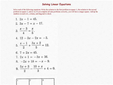 Solving Linear Equations Worksheet Answers by Solving Linear Equations Worksheet 1 Answers Tessshebaylo