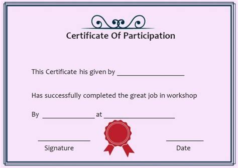template for certificate of participation in workshop 10 best certificate of participation in workshop template