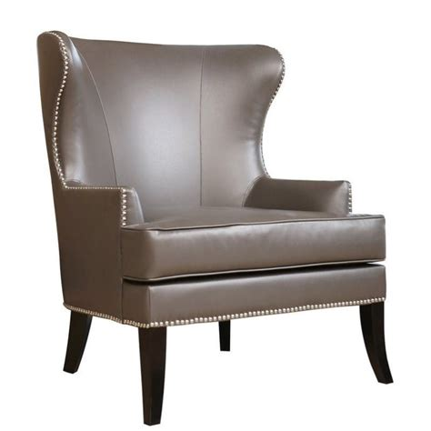 abbyson living vienna leather nailhead accent chair  gray br  gry