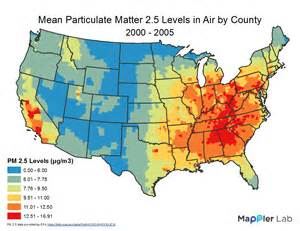 pm 2 5 levels in air gis use in health