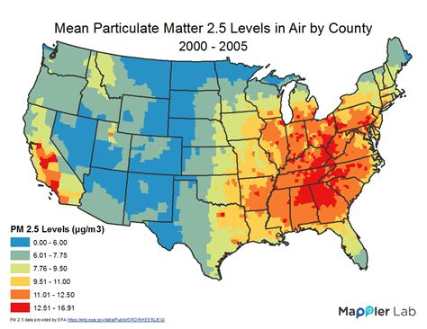 air pollution map america pm 2 5 levels in air gis use in health