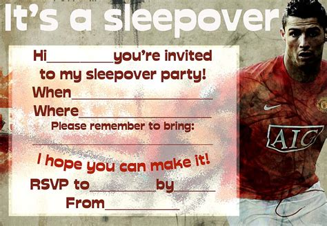 printable manchester united birthday invitations invitations for sleepover party