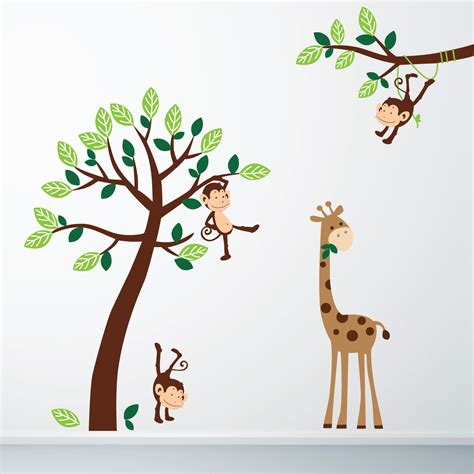 monkey  giraffe jungle wall sticker  stickers wall