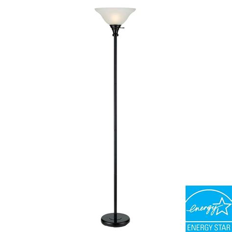 cal lighting floor l cal lighting 70 in black metal torchiere with glass shade