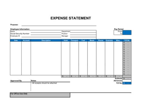 expense statement template sle form biztree com