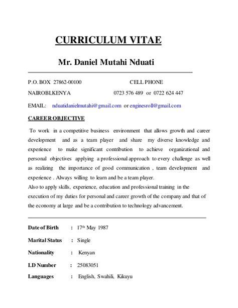 Curriculum Vitae Sles Kenya Curriculum Vitae Nduati