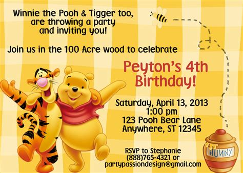 Winnie The Pooh Invitation Templates