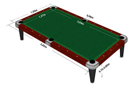 pool table diagram with sizes and dimensions
