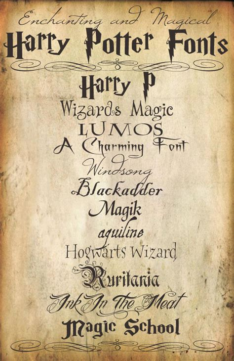 Harry Potter Fonts | harry potter font 15 free otf ttf format download