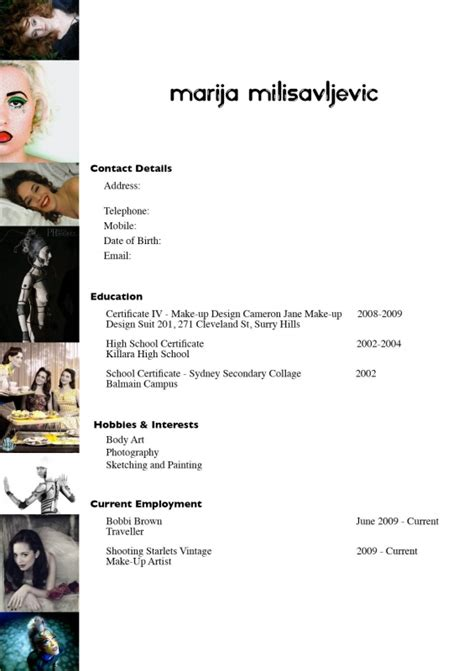 Sle Resume For Dancers by Freelance Makeup Artist Resume Sle Mugeek Vidalondon