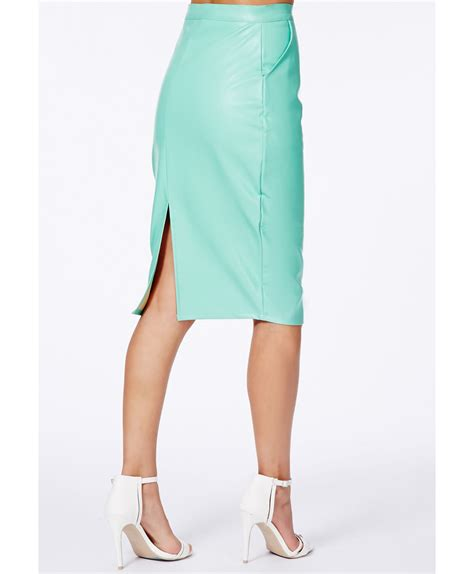 missguided mariota mint faux leather pencil skirt in green