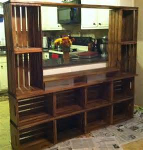 Wooden Crate Bookcase Entertainment Center Made Out Of Craft Store Crates