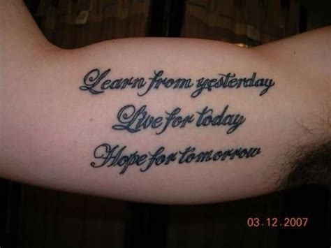live and learn tattoo designs mens quote quot learn from yesterday live for today