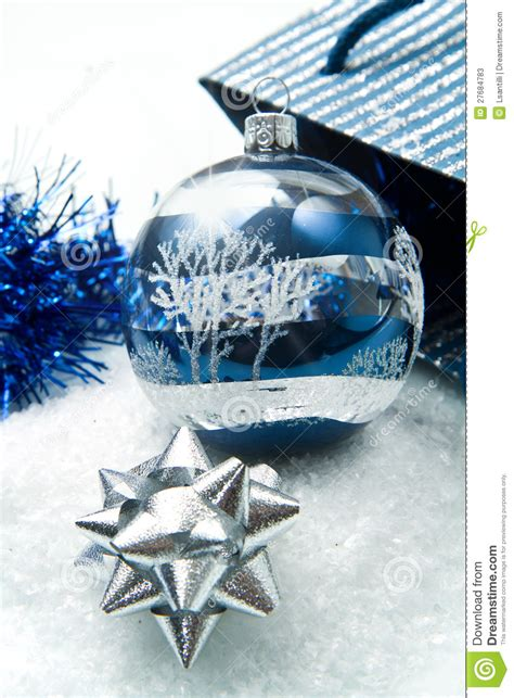 blue and silver christmas decorations stock photos image