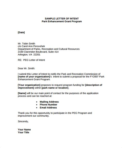 Letter Of Intent Template Grant Sle Letter Of Intent Contract 8 Documents In Pdf Word