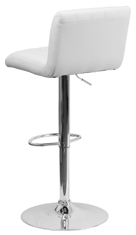 White Bar Height Bar Stools by 1000559 White Vinyl Adjustable Height Bar Stool From