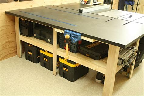 tablesaw outfeed table on table saw diy table