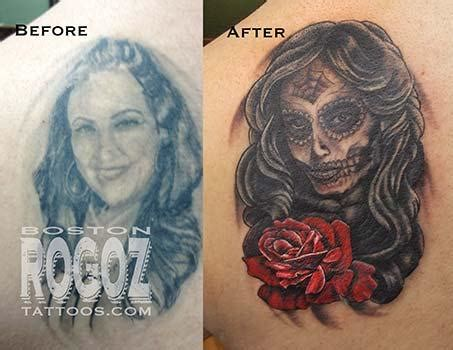 Tattoo Cover Up Portrait | ex wife portrait cover up tattoo by boston rogoz tattoos