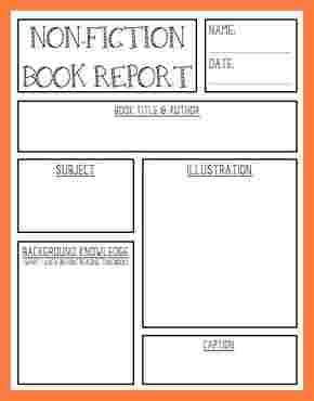 nonfiction book report form 6 non fiction book report template middle school