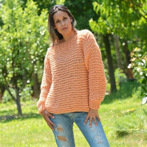 hand knitted boat neck sweater orange color hand knit wool boatneck summer sweater by