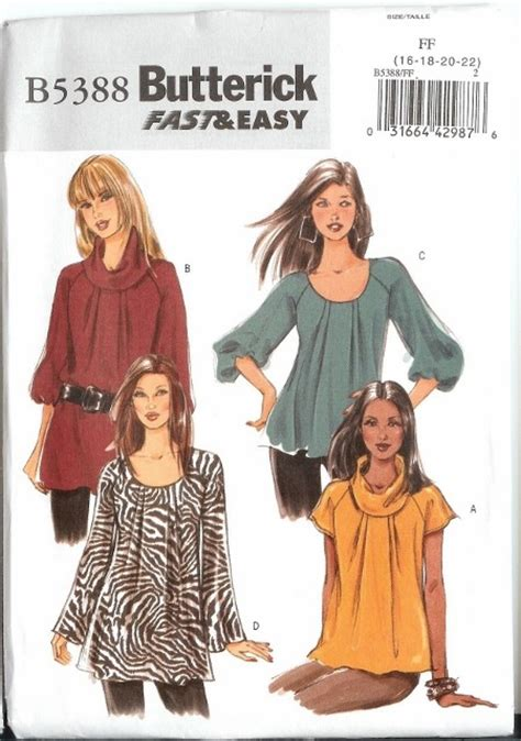oop butterick sewing pattern misses dresses tops w