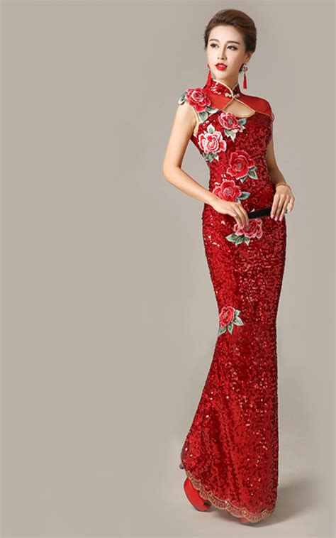Iv Cheongsam Longdress Sequins Cheongsam With Embroidered Peony Florals