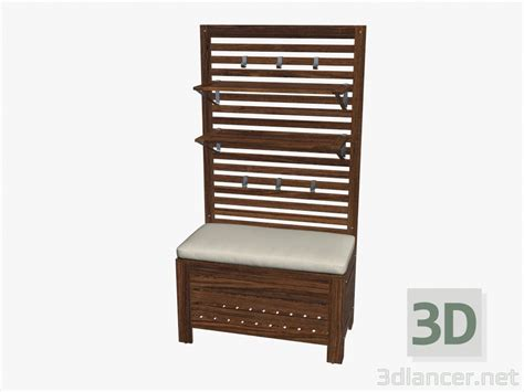 bench with wall panel 3d model wall panel with shelves storage bench with