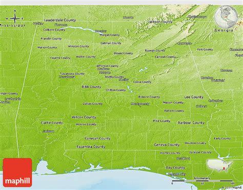 physical map of alabama physical panoramic map of alabama