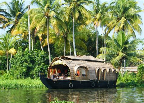 kerala india boat house indian kerala backwaters kettuvallam rice boat on the