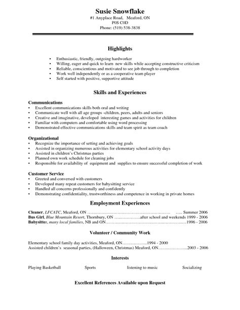 High School Level Resume Sles Resume Exles For Highschool Students Sles Of Resumes