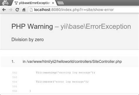 php tutorial error handling yii error handling