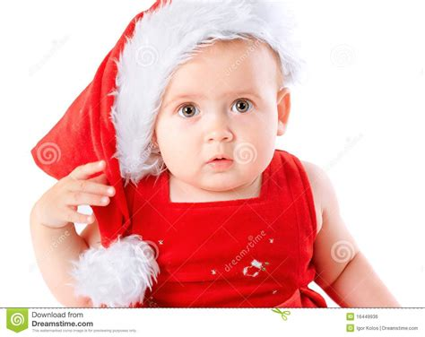 baby in santa claus hat royalty free stock image image