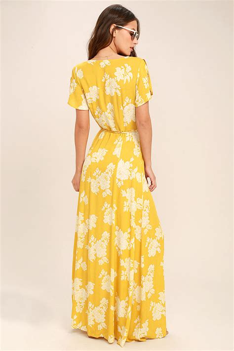 Maxi Flower Leaf Yellow lovely yellow floral print dress wrap dress maxi dress 68 00