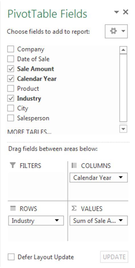 Working With Fields Tutorial Webucator - working with pivot tables exercise tutorial webucator