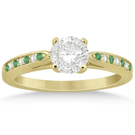 and emerald engagement ring set 14k yellow gold 0 47ct