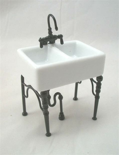 Small Porcelain Sink by Kitchen Sink Small 1 742 4 Dollhouse Miniature Furniture