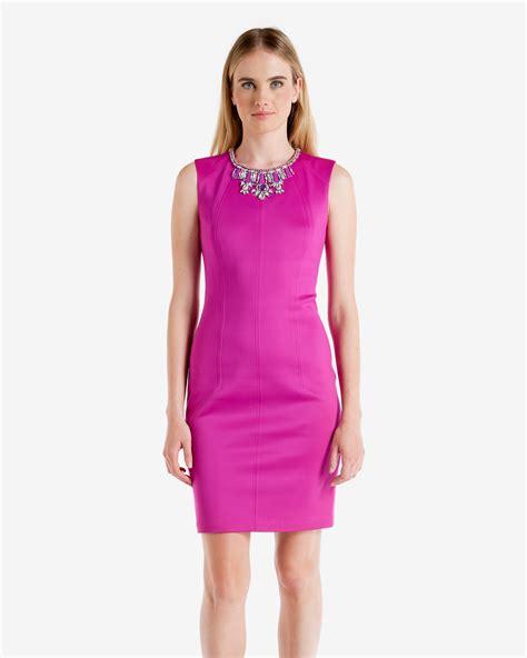 Dress Mini Bodycon Tile Peplum 18810 lyst ted baker penni embellished bodycon dress in purple