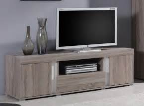 meuble tv hifi couleur chne taupe et blanc contemporain