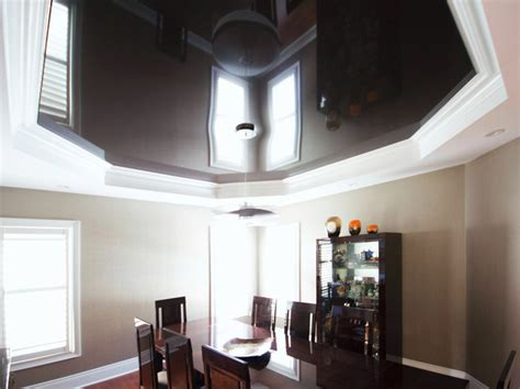 high gloss ceiling chocolate high gloss stretch ceiling midcentury dining room