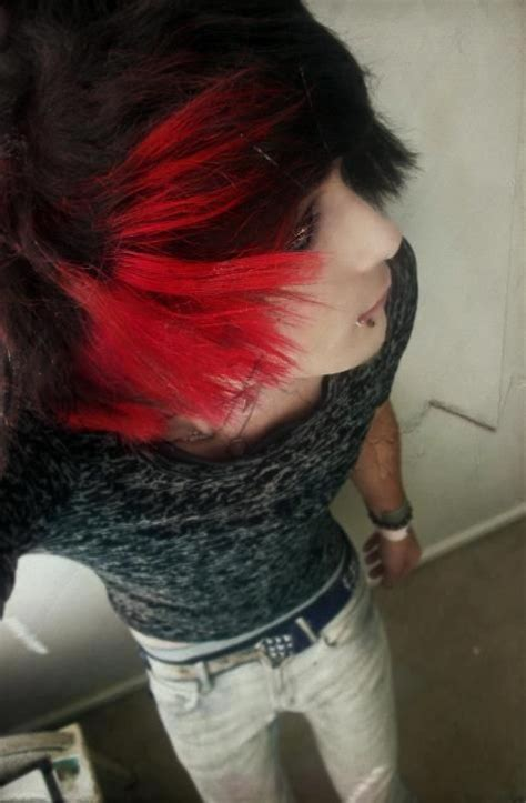 emo hairstyles red and black scene boy with red and black hair i love it when guys can