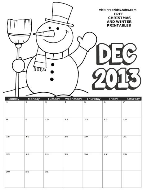 december calendar coloring pages 2013 december coloring calendar free kids crafts
