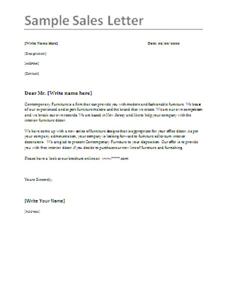 Free Sales Letter Sles Professional Word Templates Sales Letter Template 2
