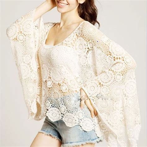 Dompet Flower Cf S 223 7 vintage sweet lace floral hollow crochet batwing blouse shirt tops on luulla