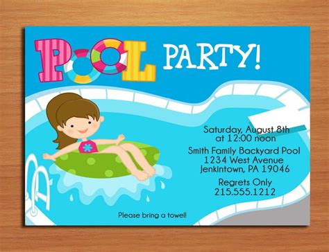 Come With Me Pool Invites by Birthday Invites Best Design Pool Invite Card