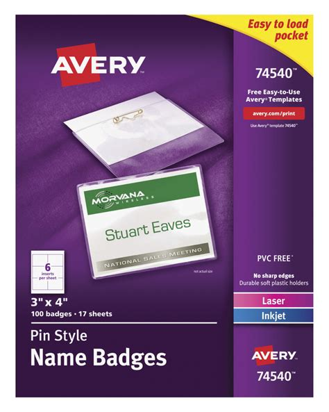Avery 3x4 Name Badge Template by Name Badge Holder Kit School Specialty Marketplace