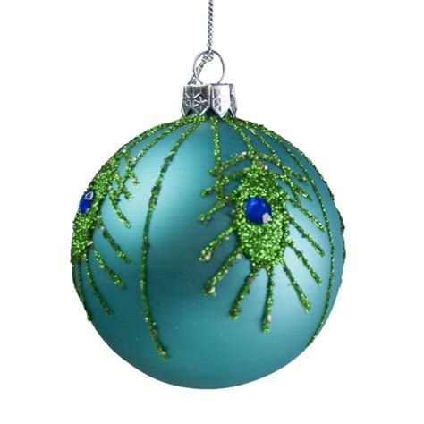 gisela graham turquoise peacock feather glass bauble