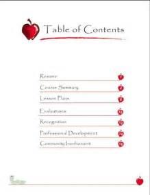professional teaching portfolio template teaching portfolio table of contents employment