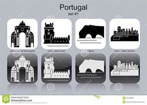 Tower House Plans Icons Of Portugal Stock Vector Image 43078656